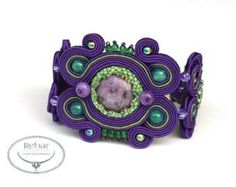 nice A set of jewelery made with the soutache embroidery technique from turquoise how...