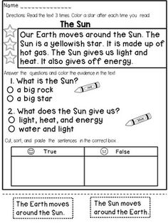 This reading comprehension passages pack contains 15 different reading passages that target both COMPREHENSION and FLUENCY and have a HANDS ON component.  All passages are related to SCIENCE and designed for 1st or 2nd grade.Due to challenging vocabulary and concepts all passages are reduced to 4-5 sentences, but the students are required to read each passage 3 times.