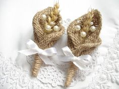 Burlap Boutonniere for Groom Wedding Rustic by SDinspiration