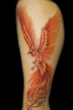 thigh phenix tattoo | Phoenix Tattoos Picture Designed On Leg.