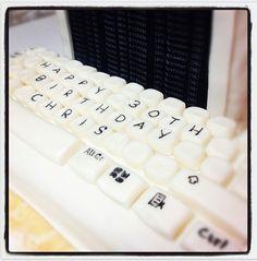Retro birthday computer cake keyboard