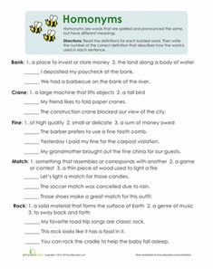 Third Grade Vocabulary Comprehension Worksheets: Multiple Meaning Words…