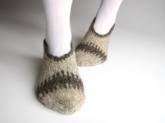 Hand Knitted Slippers  100  Natural Organic Wool  by milleta, €20.00