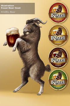Kozel beer artwork.  Ah Kozel.,,...  i will never forget my first taste of the excellent black in Prague.   Delicious,