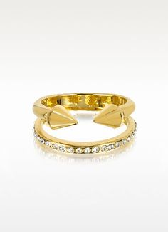 Ultra Mini Gold Tone Titan Band Ring Crystals