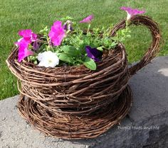 Turn Grapevine Wreaths Into a Whimsical Teacup & Saucer Planter