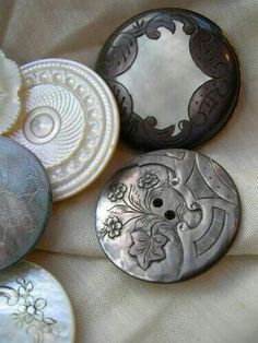 Carved engraved 19th C mother of pearl buttons