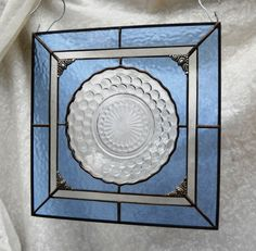 Blue Bubble 1930s Depression Glass Stained Glass by HeritageDishes, $49.95