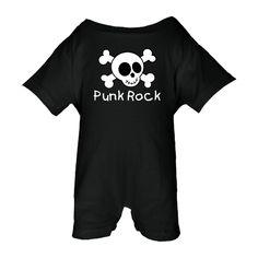 Punk Rock Fun Skull And Crossbones Baby Romper Black $22.99