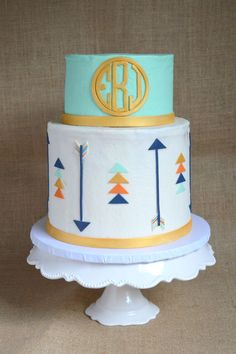 Mint And Gold Circle Monogram Arrow Cake on Cake Central