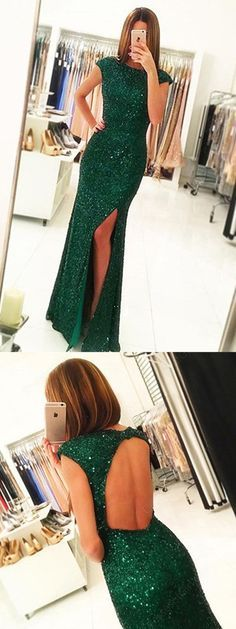 Green Prom Dresses,Party Dresses,Prom Gowns,Gowns Prom, Prom Dresses Long,Cheap Prom Dresses on Line,Dark Green Open Back Long Prom Dresses,Cap Sleeves Split-Front Prom Gown with Sequins,M61
