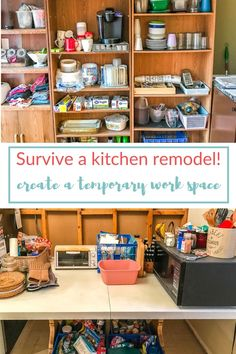 Kitchen torn apart? Everything you need to know to set up a temporary kitchen during a remodel plus tons of practical tips for surviving the process! #martysmusings