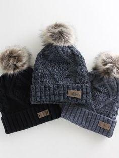 d1beee108da Fleece Lined Pom Pom Beanie Womens Winter Hats