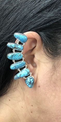 Native American Sterling Silver Navajo Handmade Kingman Turquoise Ear Climber | eBay