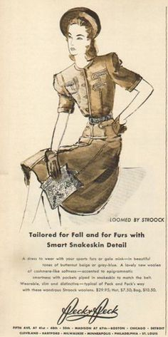 Peck & Peck ad featured a dress with a snakeskin detail belt (1940). #vintage #1940s #fashion #ads