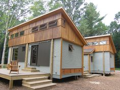 Tiny Houses // Prefab in configurable modules is a very good standard for tiny homes. Hope that it catches on more. Makes a lot of sense. Cottage in a Day Prefab Tiny Cabins Wooden House Plans, Small Wooden House, Pallet House Plans, Cabin Plans, Tiny Cabins, Cabins And Cottages, Prefab Cabins, Small Prefab Cottages, Prefab Tiny Houses