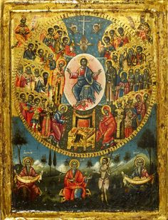 ru~~Detailed view: All Saints- exhibited at the Temple Gallery, specialists in Russian icons Religious Images, Religious Icons, Religious Art, Byzantine Icons, Byzantine Art, Russian Icons, Russian Art, Greek Icons, Religious Paintings