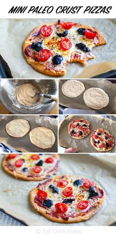 "Mini Paleo Crust Pizzas (Nut Free).  Hubby and I made these for dinner last night and they are great.  I don't possess coconut flour so I used rice flour instead.  Rather than using butter I substituted 2 tablespoons of rice bran oil.  It made four pizzas each 15 cm (6"") in diameter. Will definitely do again."