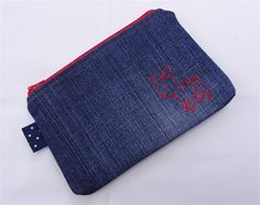Hand-stitched Deer Motif Upcycled Denim Pouch