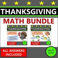 Thanksgiving Math Worksheets Bundle