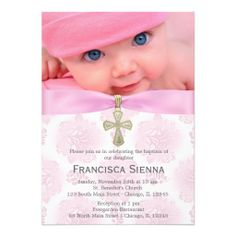 Baptism Pink Roses with photo Invite