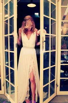Chiffon V-neck Sash A-line Slit Sexy Lace Wedding Dress - Shedressing.com