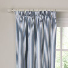 John Lewis Ticking Stripe Lined Pencil Pleat Curtains Cute Curtains, Pleated Curtains, Cotton Curtains, Lined Curtains, Curtains With Blinds, Curtains Uk, Bedroom Curtains, John Lewis Ready Made Curtains, Blue Striped Curtains