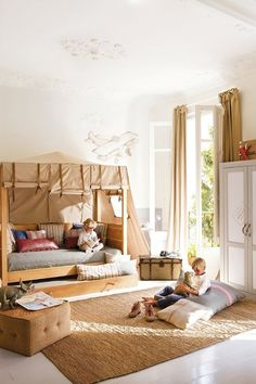Maybe we could fix up buddy's bed, using this belted canvas idea. love the tented bed and would also be darling idea for curtain valances as well and use leather or webbed belts for safari room, travel room, vintage room, etc Safari Room, Safari Chic, Safari Theme, Creative Kids Rooms, Bed Tent, Fort Bed, Bunk Beds For Boys, Tent Canopy, Kid Spaces