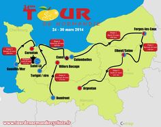 Tour of Normandy: Classic professional cyclist race through Normandy held in March. This is the  2014  route .