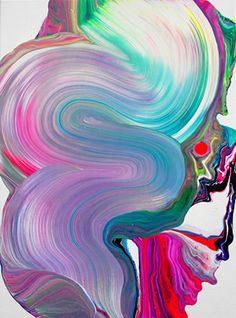 New contemporary painting: Yago Hortal Painting style - drop splashes of paint then drag brush through it