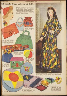 Issue: 4 Dec 1943 - The Australian Women's Week...felty felty feltity FELT holy cow an entire dressing gown made of felt