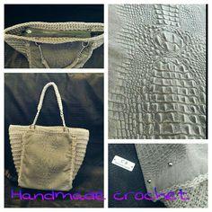 Borsa in vera pelle fatta ad uncinetto Crochet cordino thai Fb page Handmade crochet