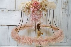Romantic shabby chic lampshade soft muted pinks with distressed lace paper roses. By Anita Spero.