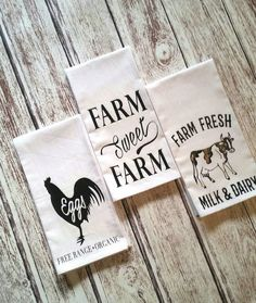 Farmhouse rustic kitchen decor, great for a gift! Dish Towels, Hand Towels, Tea Towels, Tree Stencil, Sign Stencils, Flour Sack Towels, Flour Sacks, Christmas Stencils, Christmas Tree Farm