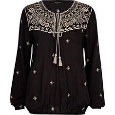 Black embroidered tassel blouse - blouses - blouses / shirts - women
