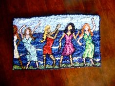 Hooked Rug   The Girls by AccentsByAbby on Etsy, $450.00