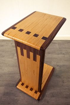 Modern C Table made from laminated Baltic Birch Plywood and Walnut