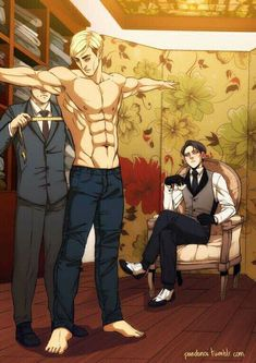 Eruri AU where Levi is a businessman who tries to get Erwin to work for him, who, prefers to have a simple life with his dog Billy. And idea by cafe-mediano ♥ Erwin obviously needs a suit. Attack On Titan Ships, Attack On Titan Fanart, Attack On Titan Levi, Attack On Titan Aesthetic, Levi And Erwin, Captain Levi, Eruri, Handsome Anime Guys, Cute Gay