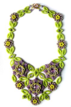 Clematis Necklace  peyote Stitch   Natalia Zolotova, Russia