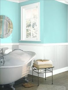 Top 19 Best Bathroom Paint Colors Ideas for Your Small Bathroom - These bathroom paint colors will certainly give your bathroom the makeover you've been waiting for, whatever your design. Aqua Bathroom, Bathroom Paint Colors, Bathroom Renos, Small Bathroom, Bathroom Ideas, Seaside Bathroom, Verde Aqua, Home Interior, Interior Design