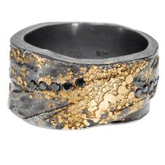 Todd Reed trdr203-blk-6 | 22ky gold and sterling silver with patina, and black brilliant cut diamonds (.165ctw)
