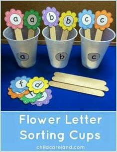Flower Letter Sorting Cups which is a great activity for letter recognition Preschool Literacy, Preschool Letters, Learning Letters, Literacy Activities, Preschool Activities, Kindergarten, Diy Montessori, Early Childhood Activities, Flower Letters