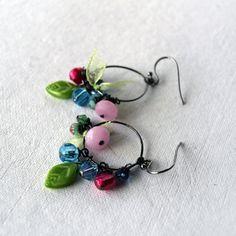 Colorful Earrings - Beaded Hoop Earrings - Large Hoop Earrings. £8.50, via Etsy.