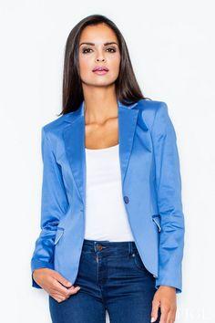 Blue Button-Up Blazer Jacket Buttons, Elegant Woman, Shades Of Blue, Kurti, Hue, Button Up, Blazers, Jackets For Women, Boutique