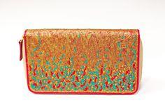 Pittura Arte Gold Handpainted Clutch Wallet