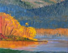 Landscape Painting Oil Painting Autumn Lake by Nancy Merkle of smallimpressions