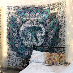 Add a Indie touch to your home or apartment by hanging this cool tapestry. This Elephant tapestry is handmade from 100% Cotton and vegan made. The colors used in this wall tapestry or bedspread will match your bedroom decor. Shop this Bohemian elephant tapestry at affordable cheap price. Beautiful Dorm tapestry wall hangings is one of the gorgeous piece and from latest tapestry collection for bohemian and cool home decor. This Elephant tapestry wall hangings or beach tapestry can be used