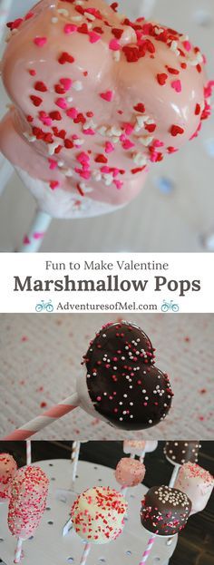 Use heart shaped marshmallows, Jet-Puffed marshmallows, paper straws, candy melts, and sprinkles to make yummy Valentine Marshmallow Pops. They're a scrumptious Valentine's Day craft or Valentine party idea, and kids love decorating these fun and easy tre