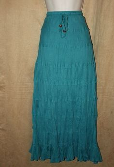 Womans Size M Teal Tiered Crinkle Skirt Elastic,Pullstring Waist Biographie NEW | eBay