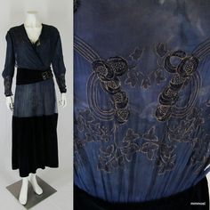 Early 1920s Vintage Dinner Dress Silk Chiffon & Velvet Metallic Embroidery XS S #Unbranded  http://stores.ebay.com/mmmosts-Old-time-Stuff-and-Threads